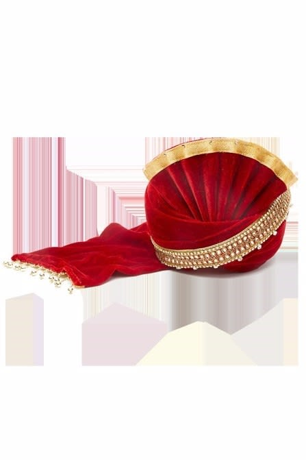 Classic Maroon Safa with golden beads