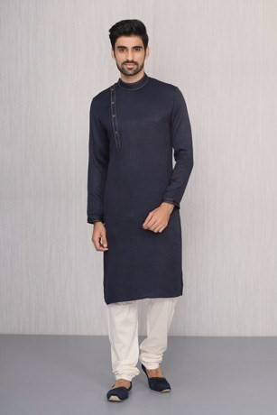 Blended Cotton Blue Kurta Set