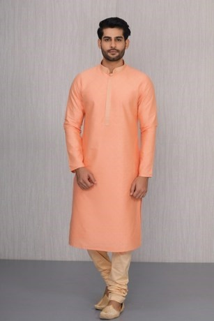 Fancy Blended Silk Kurta Set In Orange