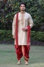 Beige and Red Indian Kurta with Dhoti