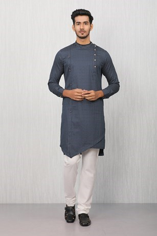 Contemporary Blue Patterned Kurta