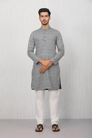 Ethnic Blue Patterned Kurta