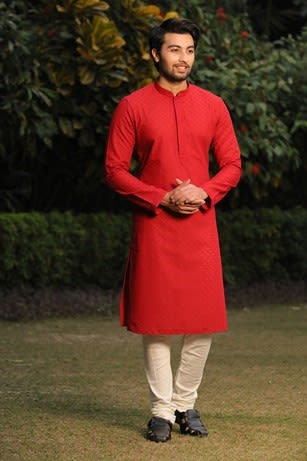 Textured Red Kurta Churidar Set