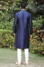 Midnight blue embroidered kurta with lower