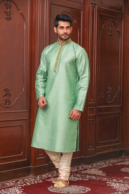 Elegant Green Texured Embroidered Placket