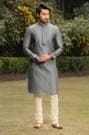 Grey Kurta Set with Motifs