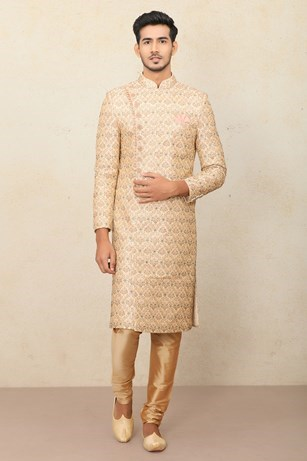 Aesthetic Fawn Patterned Sherwani Set