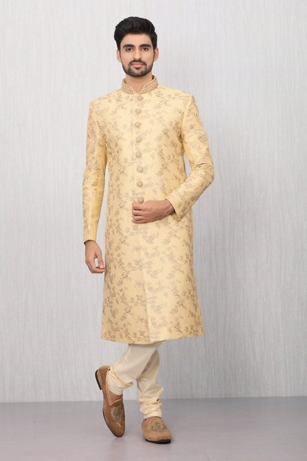 Marvellous Fawn Embroidered Sherwani