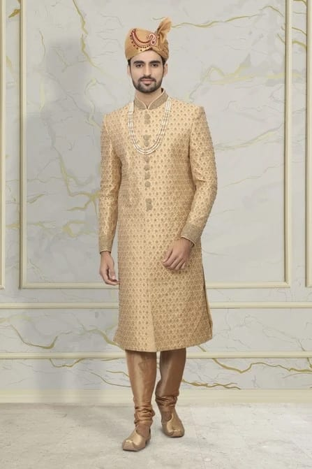 Exquisite Fawn Embroidered Sherwani