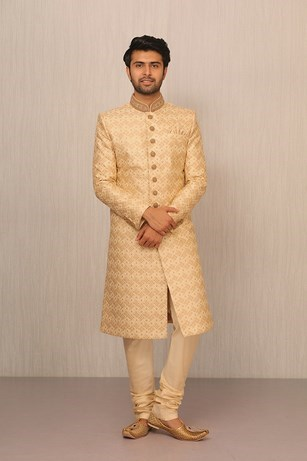 A Royal Beige Silk Sherwani