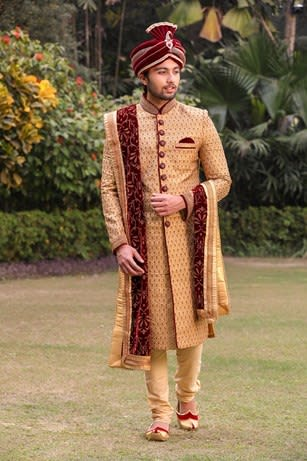 Fawn Sherwani with Contrast Velvet Buttons