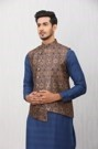 Ethnic Asymmetric Patterned Brown Jacket