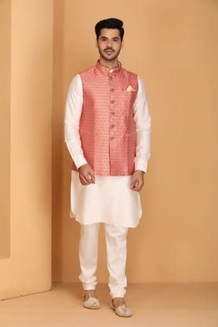 Manyavar Elegant Self Design Pink Jacket