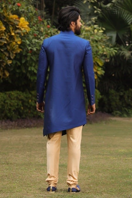 Admiral Blue Angrakha Set With Contrast Detailing