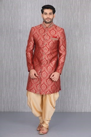 Classically Patterned Maroon Indo Western Set