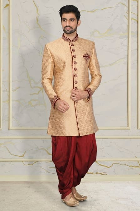 Traditional Beige and Maroon Indo Western