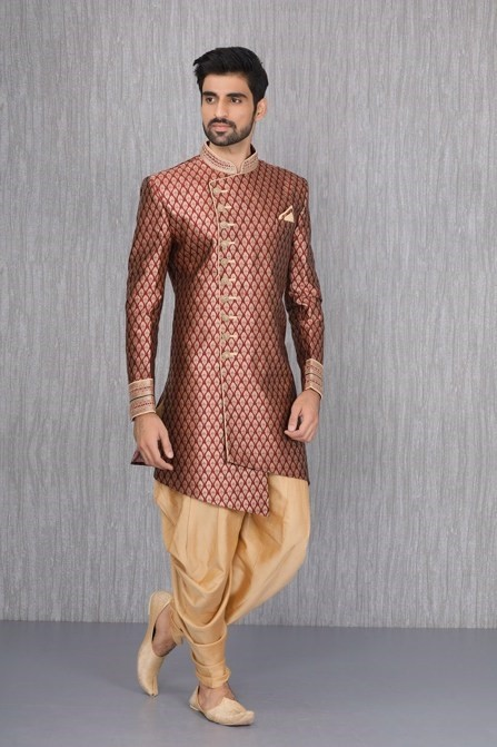 Pacifying Patterns in Maroon Indo Western Set