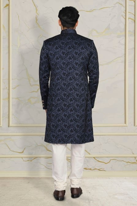 Charming Blue Patterned Indo Western