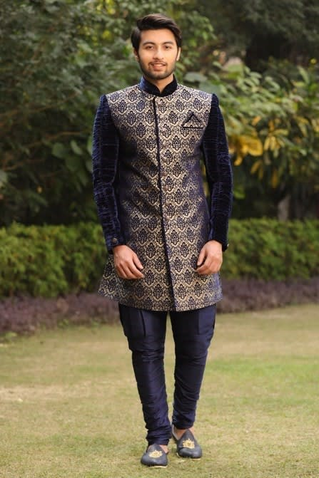 Velvet Indo-Western Set with Traditional Motifs