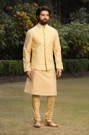 Youthful Yellow Jacket with Kurta Churidar