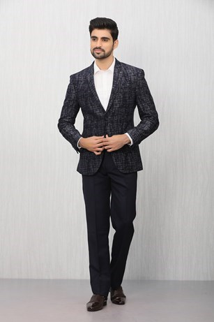 Distinctive Blue Patterned Blazer