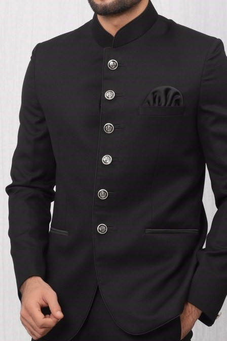 Well-Tailored Solid Black Suit Set