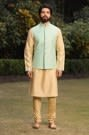 Contrasting Green Kurta Jacket Set