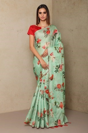 Dazzling Green Printed Green Blended Silk Saree