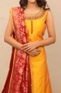Embroidered Yellow Straight-fit Suit