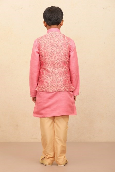 Floral Embroidered Jacket With Solid Kurta set for Kids