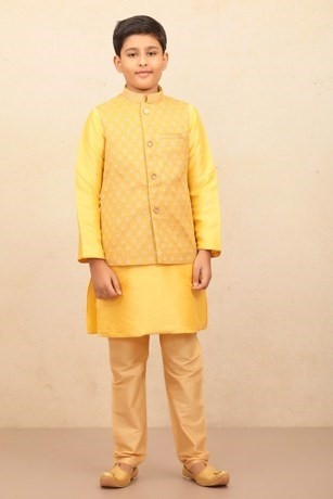 Yellow Kurta Jacket Set with Light Work for Kids