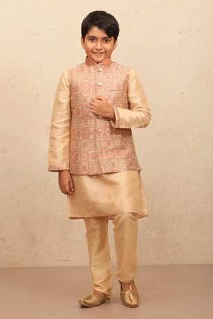 Block Print Jacket With A Classic Beige Kurta for Kids