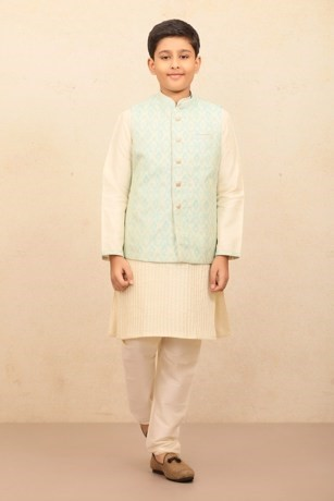 Light Blue Jacket With Kurta Set for Kids