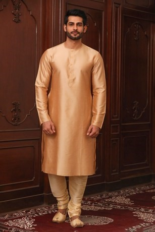 Delectable solid kurta for sherwani