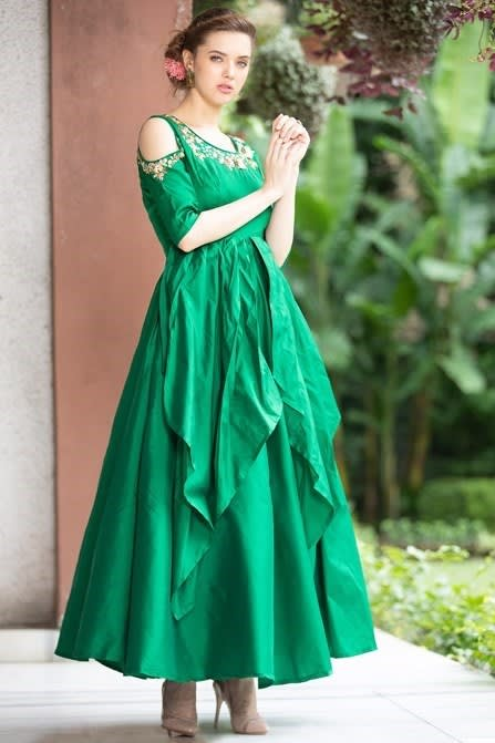 Bright Green Gown With Light Golden Work