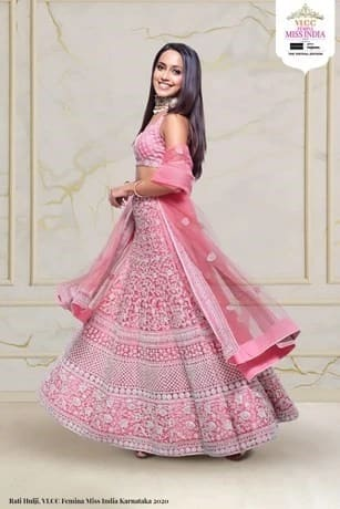 Elegant Pink Lehenga With Embroidery All Over