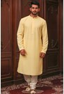 Exquisitely embroidered yellow kurta set