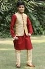 Refined Classic Fawn Jacket with Contrast Kurta Set