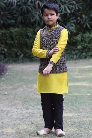 Trendsetting Blue Jacket with Contrast Yellow Kurta Set