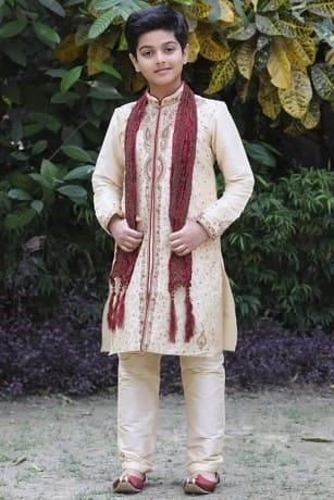 Classic Beige Kurta with All Over Zardozi Work