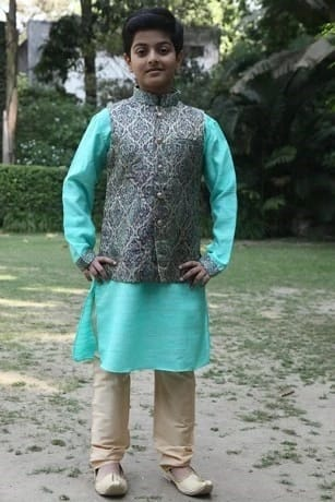 Dressy Greenish Kurta with Matching Jacket Set