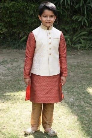 Elegant Beige Jacket with Red Patterned Kurta Set