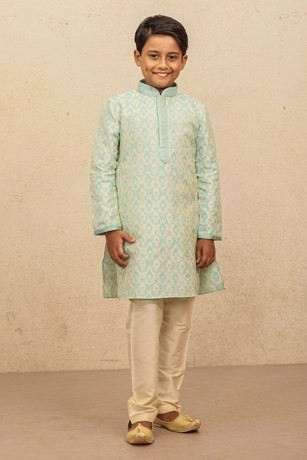 Pleasant Blue Kurta set With White Embroidery for Kids