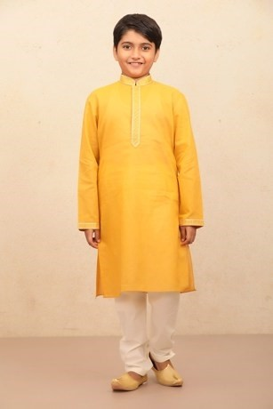 Alluring Yellow Orange Kurta set with light border embroidery for Kids