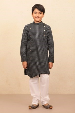 Casual Printed Blue Kurta Set for Kids
