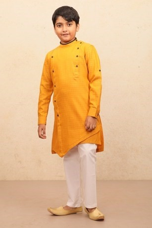 Festive Yellow Orange Kurta Set for Kids