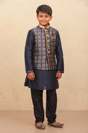 Traditional Blue Kurta with Jacket for Kids