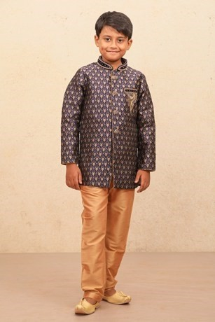 Jacquard Blue Child Indo-Western Set