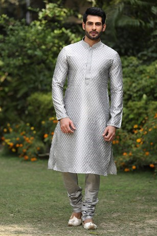 Brocade kurta with mandarin collar and lower