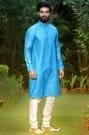 Gleaming Princely Blue Kurta Set Highlighted with Allover Stitch Line